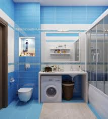 fascinating bathroom design in blue tones with bllue tile wall