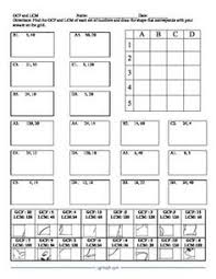 gcf and lcm puzzle activity worksheet 18 problems from cgr