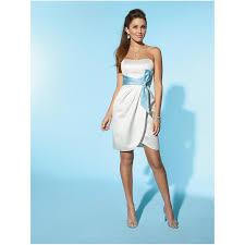 beach wedding dresses short white blue sash strapless casual