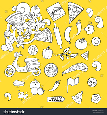 halloween pizza background pizza elements black white design vector stock vector 313678124
