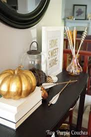 Gold Entry Table Modern Fall Entryway Decor Two Purple Couches