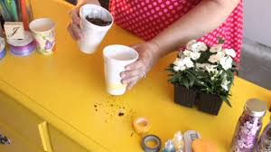 how to make flower pots from foam cups craft project tips youtube