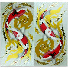 gallery showcase koi painting painted with gold
