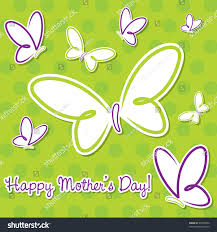 lime green purple butterfly happy mothers stock vector 99455960