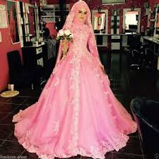 wedding dress for muslim new pink lace sleeve bridal dress muslim wedding gowns