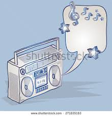 doodle drawing boom box speech bubble stock vector 428459104