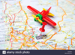 Map Of Amsterdam Close Up Of Amsterdam Netherlands Map With Red Pin And Airplane