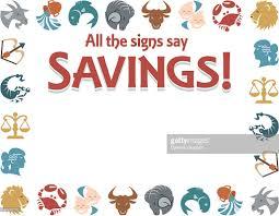 border heading all the signs say savings zodiac symbols color
