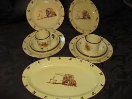 Western Kitchen Canisters by Vintage Monterey Western Wear Dishes Plates Platter Cups Bowls