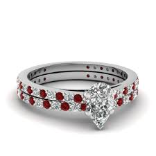 wedding rings set pear shaped diamond wedding ring set with ruby in 14k white