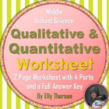 qualitative and quantitative observations worksheet by elly thorsen