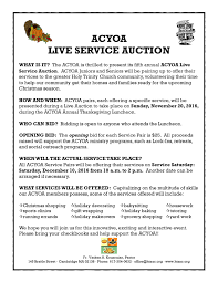 2016 thanksgiving date acyoa thanksgiving luncheon and live service auction