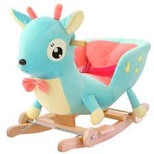 siege a bascule bebe kingtoy en peluche bébé chaise berçante enfants bois siège de