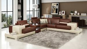 Olympian Sofas Nurburg Brown  Cream Leather Corner Sofa - Corner leather sofas