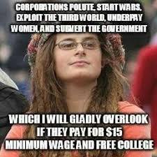 Liberal College Girl Meme - bad argument hippie liberal leftist college girl or bad