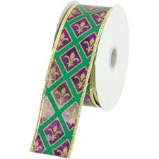 mardi gras ribbon 1 5 metallic fleur de lis diamond mardi gras ribbon 10 yards