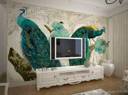 aesthetic peacock wall stickers decorative non woven dining