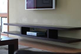 hardwood floating tv stand design in varnished finish come with