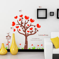 red heart love tree wall stickers wall art decals vinyl wall red heart love tree wall stickers