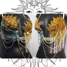 Moon Goddess Fairy Monokini Bra Cosplay Dance Costume Rave Bra by Sun And Moon Deep Plunge Bra Bohemian Rave Wear Rave Edc Edc
