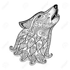 zen patterns coloring pages hand drawn wolf side view with ethnic floral doodle pattern