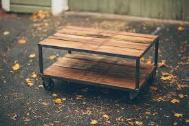 reclaimed wood coffee table with wheels vintage casters perfect for a reclaimed wood coffee table