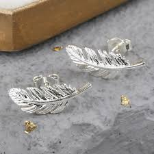 feather stud earrings silver feather earrings jewellery angel delicate