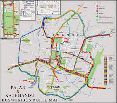 Map Note Kathmandu And Patan Bus Minibus Route Map Note Nepal