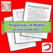 the properties of matter review worksheet