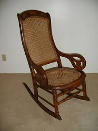 Antique High Back Chairs Antique Cane High Back Rocking Chair Lincoln Rocker Ebay