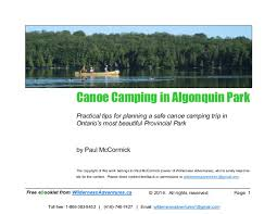 Algonquin Park Interior Camping Canoe Camping In Algonquin Park Free E Booklet By Wilderness Advent U2026