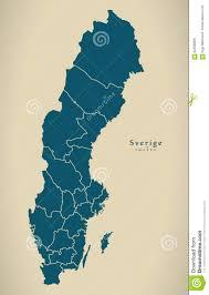 Map Sweden Modern Map Sweden With Regions Se Stock Illustration Image