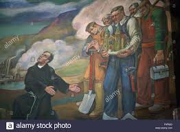 wall mural created by croatian artist maxo vanka of croatian stock stock photo wall mural created by croatian artist maxo vanka of croatian immigrant laborers and their priest in america in the st nicholas croatian