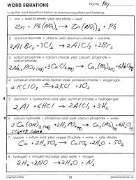 word equations worksheet chemistry tessshebaylo