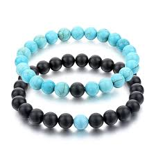 turquoise stone amazon com long way his and hers bracelets black matte agate