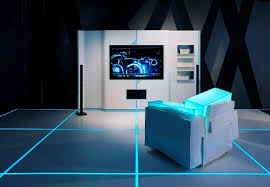 futuristic home interior tv stands design in tron legacy inspiration for home designing
