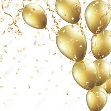 gold balloons festive background with gold balloons and confetti royalty free