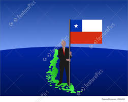 Chile National Flag Illustration Of Man On Map Of Chile With Flag