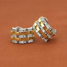 gold huggie earrings chimento 18k two tone gold yellow collection diamond huggie