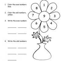 grade 1 math color the flower odd and even
