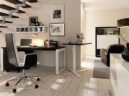 contemporary office design under stair for small house with wall