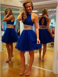 two pieces navy homecoming dresses high neck homecoming dresses