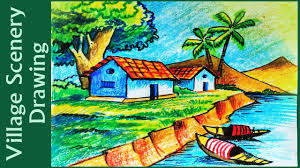 how to draw village scenery with oil pastels step by step youtube