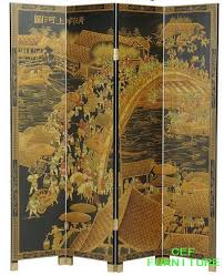 chinese famous painting style screen room divider lacquer screen