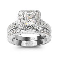 engagement rings sets halo 1 5 ct princess cut lab created diamond bridal set wedding