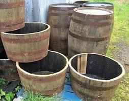 wooden barrel planter ebay