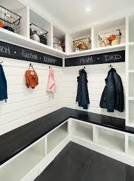 Laundry Room Border - black and white mudorom with chalkboard paint border