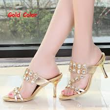 wedding shoes gold color summer rhinestone slippers gold pink wedding party shoes fashion