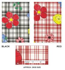 plaid flower flannel backed vinyl tablecloth in or black by
