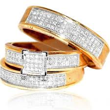 trio wedding sets yellow gold trio wedding set mens women rings real 0 53ct diamonds